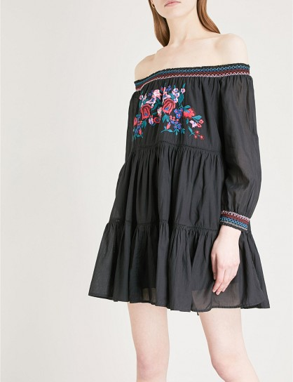 FREE PEOPLE Sunbeams off-the-shoulder woven dress / black floral bardot dresses