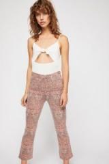 Free People Frida Crop Flare Jeans in Coral Daze Combo | printed denim