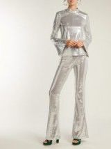 GALVAN Galaxy long-sleeved sequinned top ~ evening glamour ~ metallic-silver eveningwear
