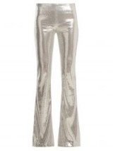 GALVAN Galaxy sequin flared trousers ~ glamorous metallic-silver pants