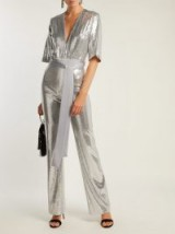 GALVAN Galaxy sequined wide-leg jumpsuit ~ glamorous evenings ~ metallic-silver sequins