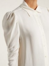 SEE BY CHLOÉ White Gather detailed shirt ~ ruched sleeves