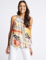 M&S COLLECTION Geometric Print Halter Neck Blouse ~ summer halterneck tops