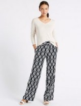 M&S COLLECTION Geometric Print Wide Leg Trousers ~ everyday style