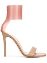 GIANVITO ROSSI pink latex ankle cuff and beige leather toe strap sandals – luxe heels