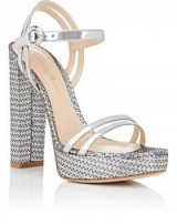 GIANVITO ROSSI Specchio Leather & Textured Fabric Platform Sandals metallic-silver ~ 70s style
