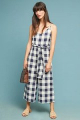 If By Sea – Gingham Tie-Waist Jumpsuit navy / blue and white checks