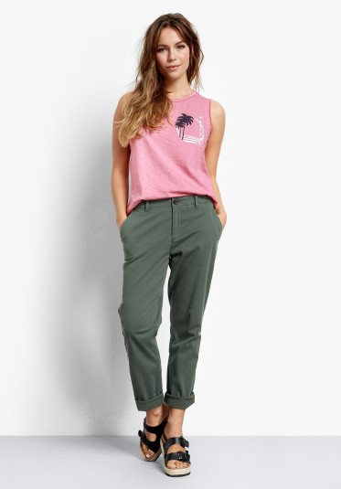 hush Girlfriend Chinos – washed green ~ casual trousers