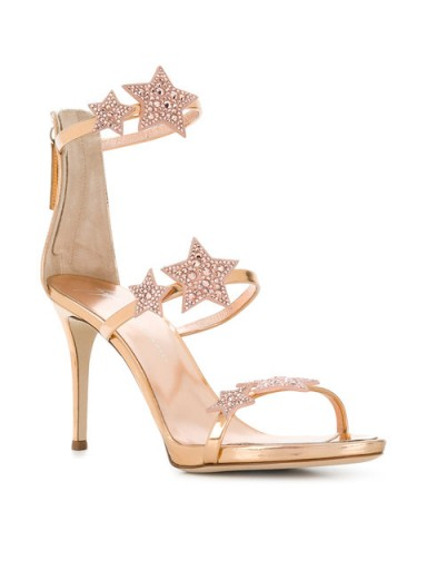 GIUSEPPE ZANOTTI DESIGN starry stiletto sandals – gold metallic strappy heels