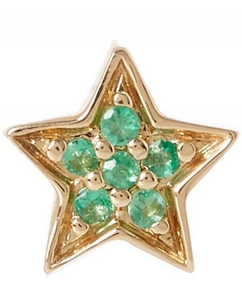 ANDREA FOHRMAN Gold Emerald Mini Star Stud Earring / tiny green stone jewellery