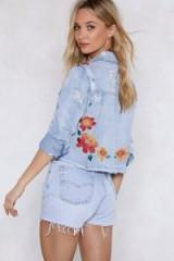 Nasty Gal Good Day Sunshine Denim Jacket | floral embroidery