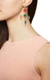 GRAINNE MORTON Cross Mismatched Drop Earrings ~ beautiful multicoloured gemstones