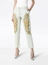 GUCCI crystal embroidered white denim jeans | cropped leg