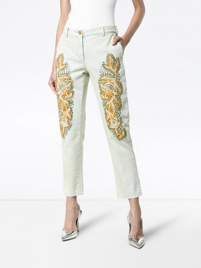 3d31647ccfd2a GUCCI crystal embroidered white denim jeans