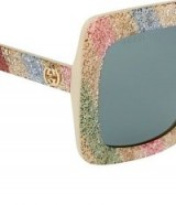 GUCCI GG0328S Sunglasses ~ glitter rainbow striped eyewear