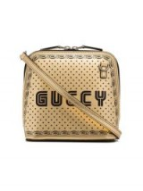 GUCCI Metallic Gold And Black Gucci Star Print Leather Bag ~ small crossbody