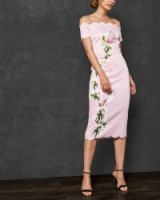 TED BAKER OLYVA Harmony scallop trim Bardot dress on pale pink ~ off the shoulder party wear
