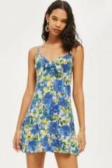 Topshop Heavy Petal Knot Front Mini Sundress | blue floral summer dresses