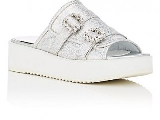 HELENA & KRISTIE Crystal-Buckle Metallic Leather Slide Sandals | luxe silver flatforms