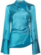 HELLESSY Turquoise silk wrap blouse / glossy fabrics / asymmetric in design