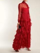 VALENTINO High-neck polka-dot chiffon gown ~ red ruffles ~ feminine event dresses