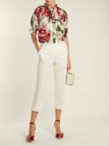 DOLCE & GABBANA High-rise floral-jacquard trousers ~ Italian tailored cropped leg pants