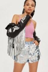 Topshop Hologram Sequin Mom Shorts | sequined denim