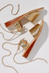 Hudson London Calia Metallic-Leather Sandals ~ strappy gold summer wedges