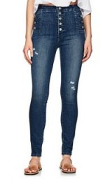 J BRAND Natasha Skinny Jeans Mid Blue ~ button detail denim skinnies