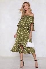 NASTY GAL Jet Set for Summer Polka Dot Skirt in olive | green ruffles