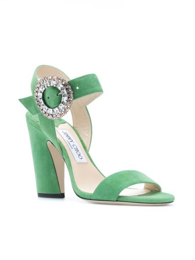 JIMMY CHOO Mischa 100 sandals ~ green suede heels with crystal side buckle