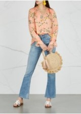 JOIE Bolona floral-print silk blouse in Peach | frilled cuff tops