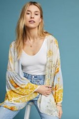 Anthropologie Jordin Floral Kimono in Yellow | wide sleeved oriental style jackets