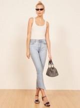 Reformation Julia High Cigarette Jean Skye | light denim cropped jeans | raw angled hems