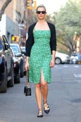 Karli Kloss green floral print sundress, REFORMATION Persimmon Dress in Pico, out in New York, 1 May 2018. Models street fashion | star style dresses