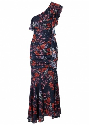 KEEPSAKE Need You Now floral-print chiffon gown / one shoulder / ruched waist
