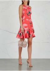 KEEPSAKE Wild Thoughts floral-print mini dress in coral | frilled hemline | party fashion