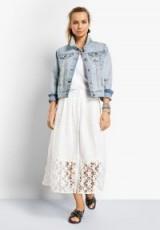 hush Kempton Lace Skirt in White | cut-out stars