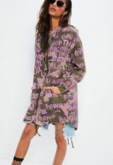 Missguided khaki printed camo longline parker – green and pink print jackets