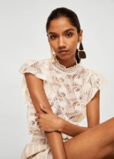 MANGO Lace panel t-shirt off-white | luxe high neck tops | flutter sleeves