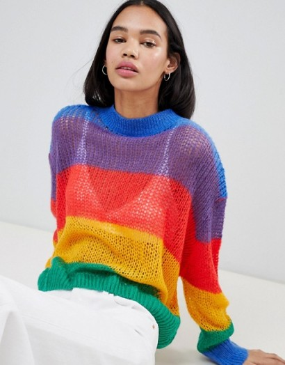 Lazy Oaf Rainbow Knitted Jumper – multicoloured – knitwear – sheer – oversized – slouchy