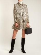 VALENTINO Leopard-print brocade coat – animal motif – frill hem