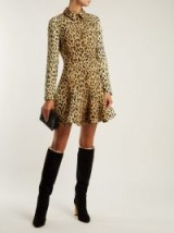 VALENTINO Leopard-print wool-silk crepe dress ~ glamorous fit and flare