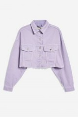 Topshop Lilac Denim Hacked Jacket | cropped raw hem