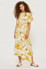 TOPSHOP Linear Floral Asymmetric Dress – retro summer look