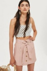 TOPSHOP Linen Button Paperbag Skirt in Dusty Pink