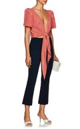 LISA PERRY Ponte Crop Flared Pants | chic navy-blue trousers