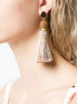 LIZZIE FORTUNATO JEWELS tassel drop earrings in sand | fringed boho jewellery