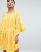 Lost Ink Off Shoulder Embroidered Mini Dress With Tie Waist in Yellow – boho summer fashion