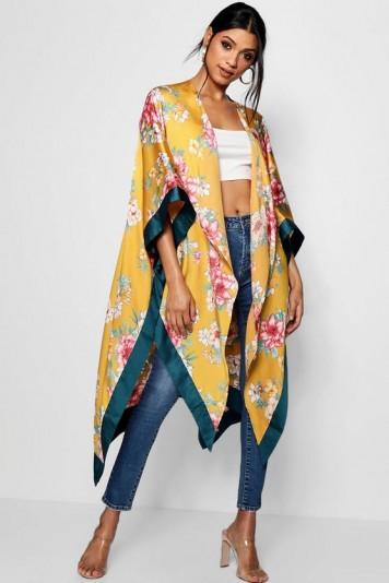 boohoo Maria Woven Floral Contrast Kimono – yellow – kimonos – day to night – flowers